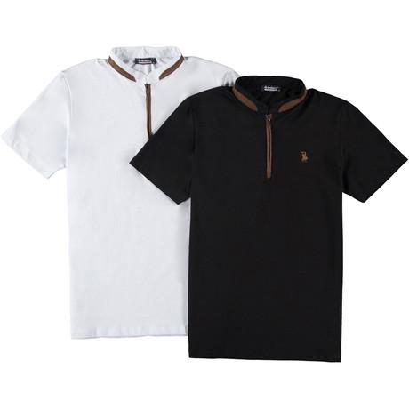 Pack of 2 // Zipper T-Shirts // White + Black (Small)
