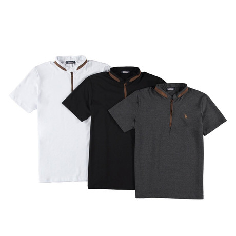 Pack of 3 // Zipper T-Shirts // Black + White + Anthracite (Small)