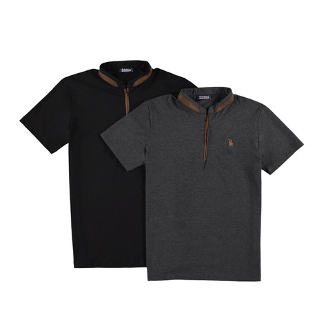 Pack of 2 // Zipper T-Shirts // Black + Anthracite (Small)