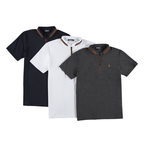 Pack of 3 // Zipper T-Shirts // Anthracite + White + Dark Blue (Small)