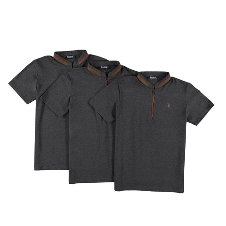 Pack of 3 // Zipper T-Shirts // Anthracite (Small)