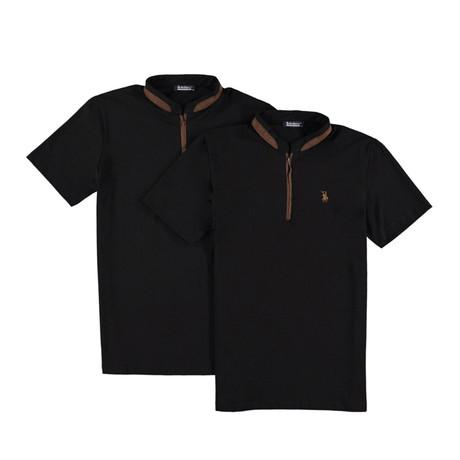 Pack of 2 // Zipper T-Shirts // Black + Black (Small)