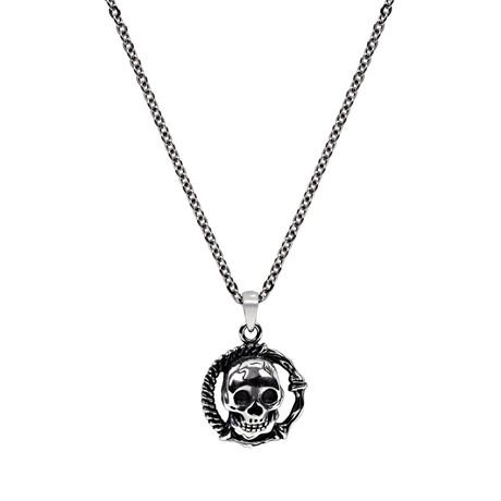 Skull + Bones Necklace // Silver