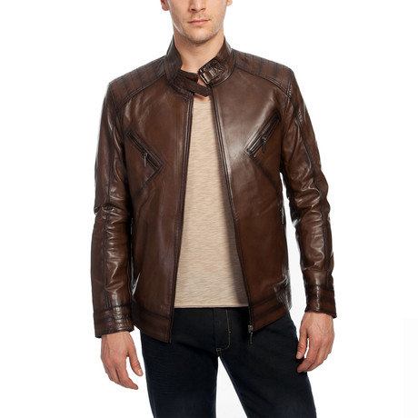 Sonja Leather Jacket // Brown (XS)