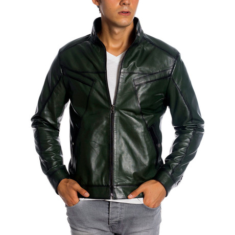 Andrew Leather Jacket // Green (XS)