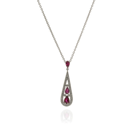 Damiani 18k White Gold Diamond+ Ruby Necklace // Store Display