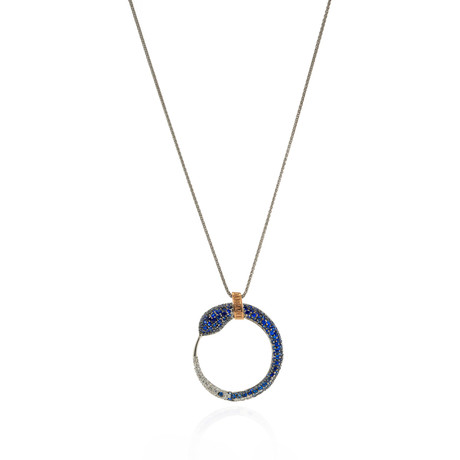 Damiani Eden 18k Two-Tone Gold Diamond + Sapphire Snake Necklace // Store Display