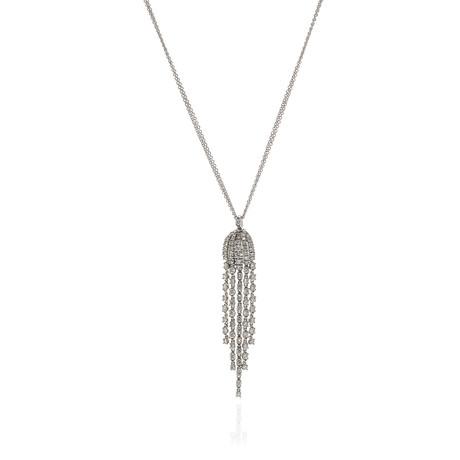 Damiani 18k White Gold Diamond Pendant Necklace // Store Display