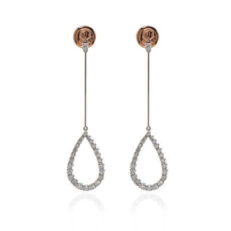 Damiani 18k Two-Tone Gold Diamond Drop Earrings // Store Display