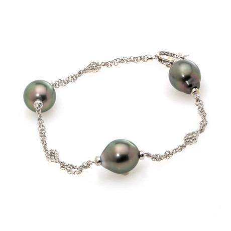 Damiani Le Perle 18k White Gold Diamond + Pearl Bracelet // Store Display