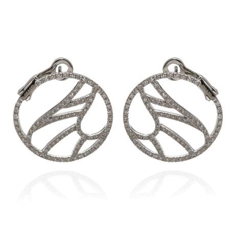 Damiani Battito D'ali 18k White Gold Diamond Earrings // Store Display