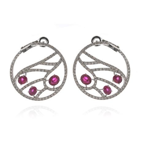 Damiani Battito D'ali 18k White Gold Diamond + Ruby Earrings // Store Display