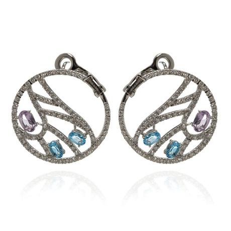 Damiani Battito D'ali 18k White Gold Diamond + Topaz Earrings // Store Display