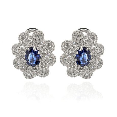 Damiani 18k White Gold Diamond + Sapphire Huggie Earrings // Store Display