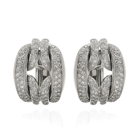Damiani D Lace 18k White Gold Diamond Earrings // Store Display