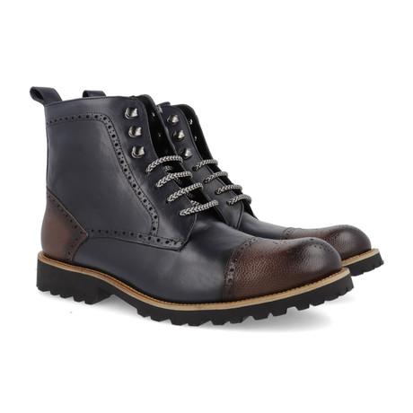 Carmona Leather Boot // Navy + Brown (Euro: 39)