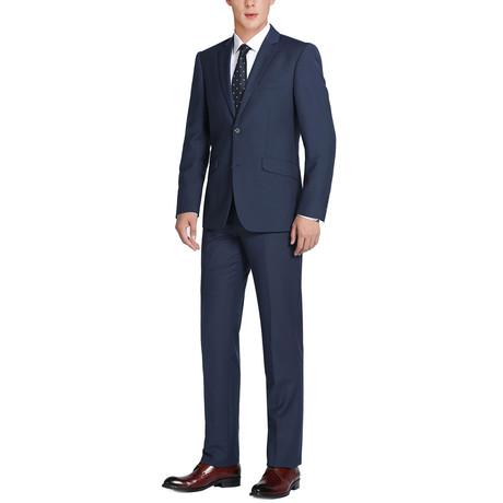 Super 140's Wool Slim Fit 2-Piece Pick Stitch Suit // Navy (US: 34R)