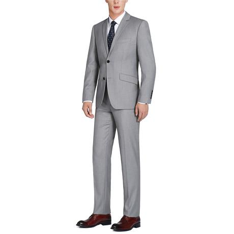 Super 140's Wool Slim Fit 2-Piece Pick Stitch Suit // Gray (US: 34R)