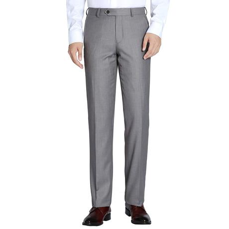 Super 140's Classic Fit Flat Front Pant // Gray (34)