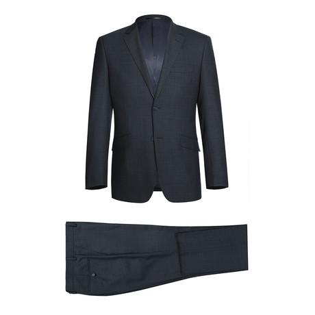 """Super 140""""s 2-Piece Slim Front Suit + Flat Front Pant // Navy Shadow Plaid (US: 34R)"""