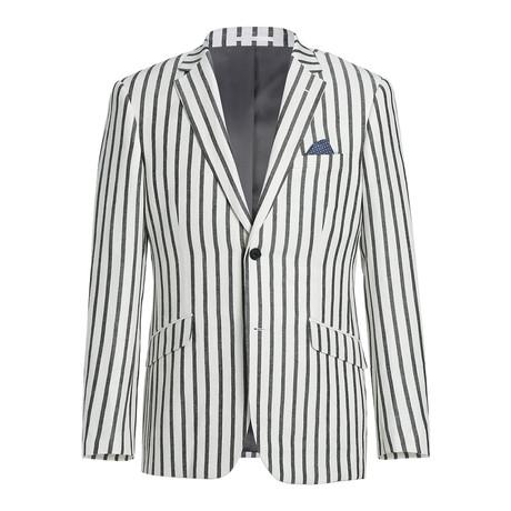 Linen + Cotton Bold Stripe Slim Fit Blazer // Black + White (US: 34R)