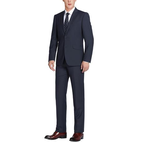 Super 140's Wool Slim Fit 2-Piece Pick Stitch Suit // Midnight (US: 34R)