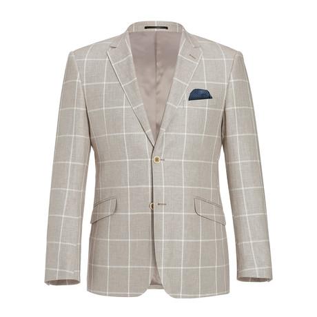 Linen + Cotton Textured Windowpane Classic Fit Blazer // Tan + White (US: 34R)