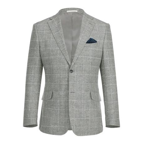 Linen + Cotton Textured Windowpane Slim Fit Blazer // Gray + White (US: 34R)