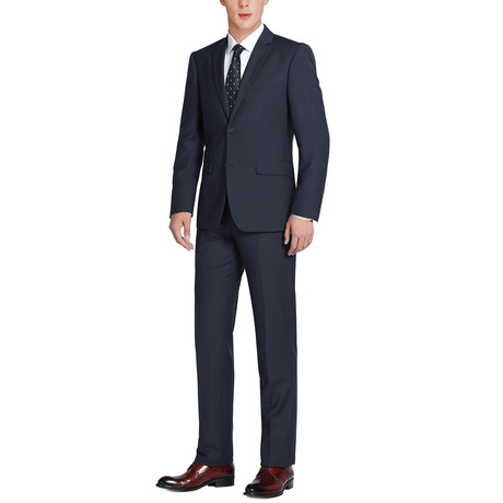Super 140's Wool Classic Fit 2-Piece Pick Stitch Suit // Midnight (US: 34R)