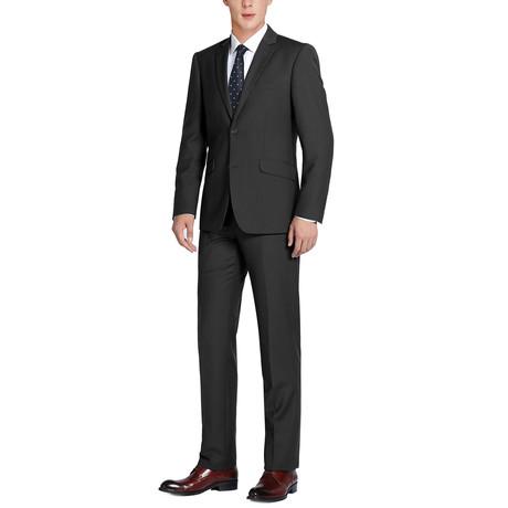 Super 140's Wool Slim Fit 2-Piece Pick Stitch Suit // Black (US: 34R)