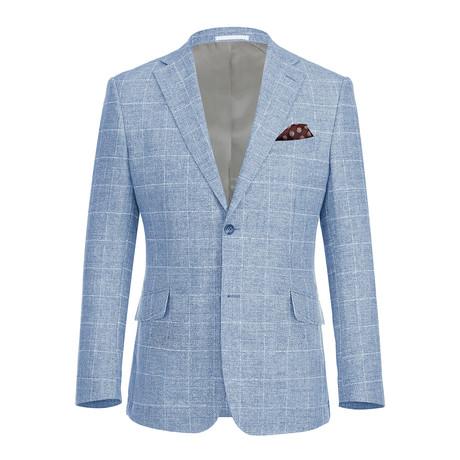 Linen + Cotton Textured Windowpane Slim Fit Blazer // Blue + White (US: 34R)