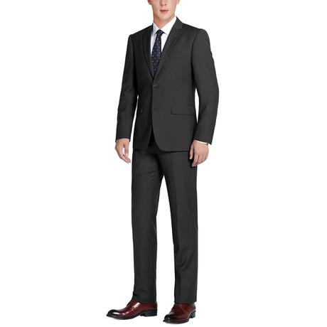 Super 140's Wool Classic Fit 2-Piece Pick Stitch Suit // Black (US: 34R)