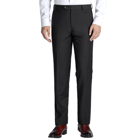 Super 140's Classic Fit Flat Front Pant // Black (34)