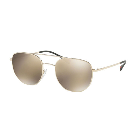 Prada // Men's Sunglasses // Pale Gold + Light Brown + Gold Mirror