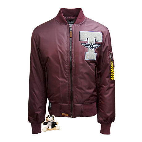 "MA-1 ""Champs"" Bomber Jacket // Burgundy (XS)"