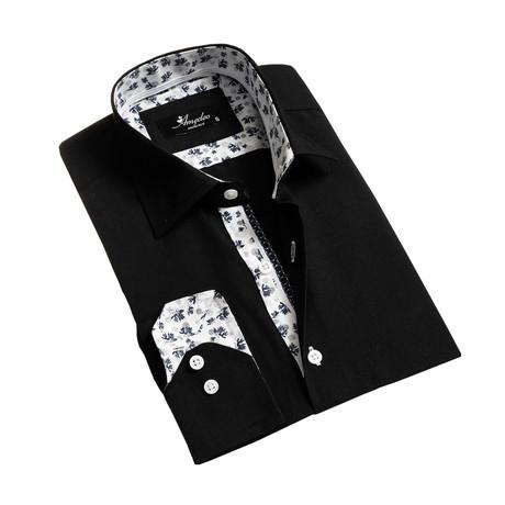 Reversible Cuff Long-Sleeve Button-Down Shirt // Black (XS)