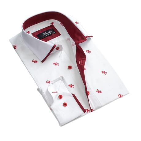 Panda Reversible Cuff Long-Sleeve Button-Down Shirt // White + Burgundy (XS)