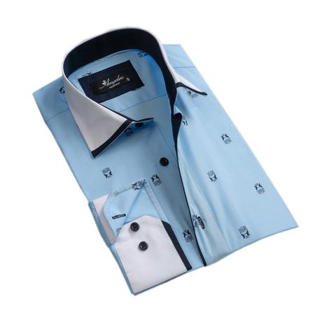 Owls Reversible Cuff Long-Sleeve Button-Down Shirt // Light Blue + Navy (XS)