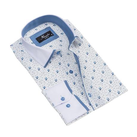 Reversible Cuff Long-Sleeve Button-Down Shirt // White + Light Blue (XS)