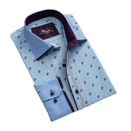 Reversible Cuff Long-Sleeve Button-Down Shirt // Light Blue + Purple (XS)