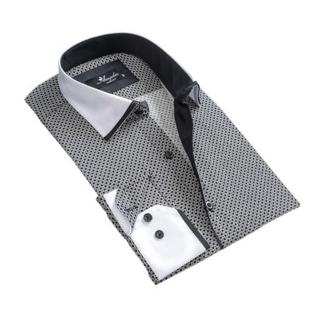 Reversible Circle Print Cuff Long-Sleeve Button-Down Shirt // White + Black (XS)