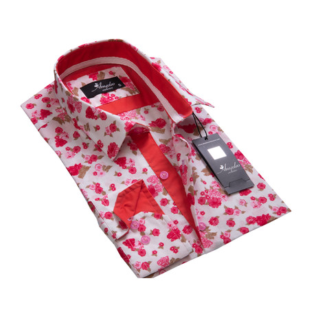Floral Reversible Cuff Long-Sleeve Button-Down Shirt II // White + Red (XS)