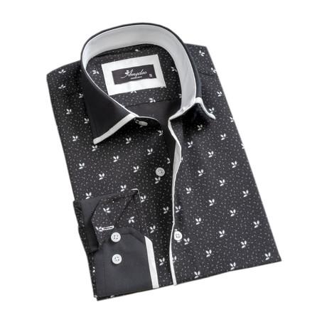 Floral Reversible Cuff Long-Sleeve Button-Down Shirt // Black + White (XS)