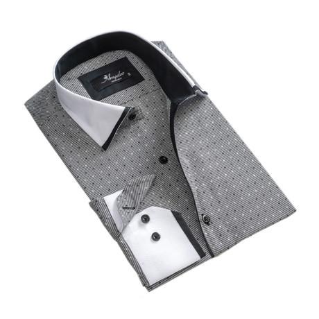 Reversible Star Print Cuff Long-Sleeve Button-Down Shirt // Gray (XS)