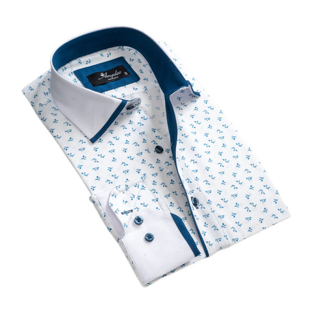 Floral Reversible Cuff Long-Sleeve Button-Down Shirt I // White + Blue (XS)