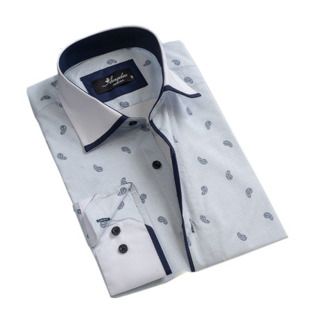 Paisley Reversible Cuff Long-Sleeve Button-Down Shirt // White + Light Blue (XS)