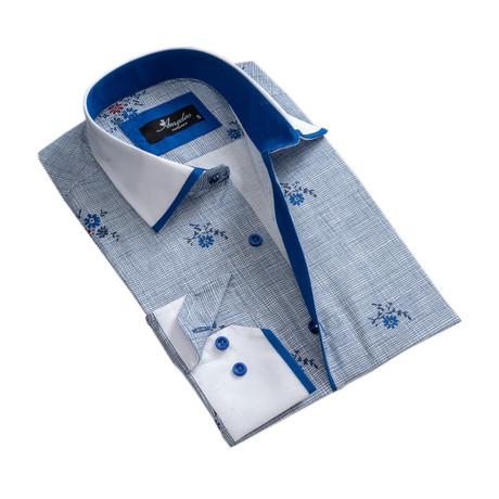 Floral Reversible Cuff Long-Sleeve Button-Down Shirt // Blue (XS)