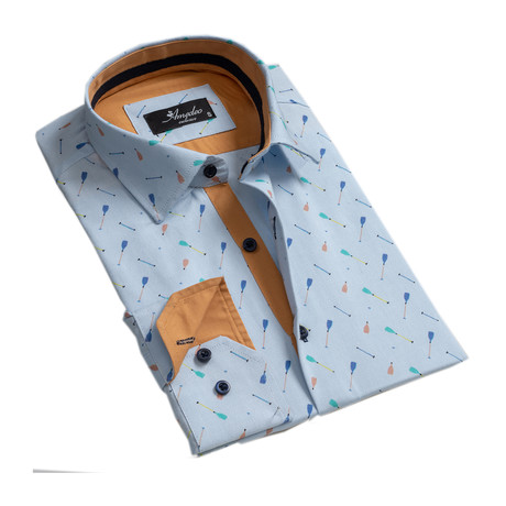 Party Reversible Cuff Long-Sleeve Button-Down Shirt // Light Blue (XS)