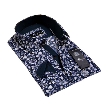 Floral Reversible Cuff Long-Sleeve Button-Down Shirt // Navy Blue + White (XS)
