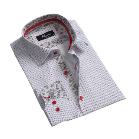 Dotted Reversible Cuff Button-Down Shirt // White (XS)